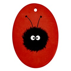 Red Cute Dazzled Bug Oval Ornament (Two Sides)