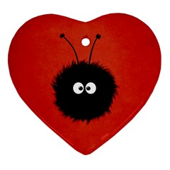 Red Cute Dazzled Bug Heart Ornament (Two Sides)