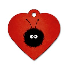 Red Cute Dazzled Bug Dog Tag Heart (Two Sided)