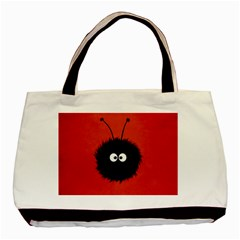 Red Cute Dazzled Bug Twin-sided Black Tote Bag