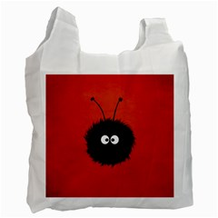 Red Cute Dazzled Bug White Reusable Bag (Two Sides)