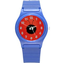 Red Cute Dazzled Bug Plastic Sport Watch (Small)