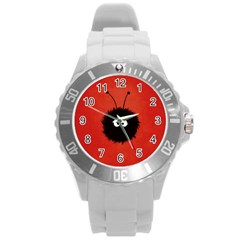 Red Cute Dazzled Bug Plastic Sport Watch (Large)