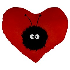 Red Cute Dazzled Bug 19  Premium Heart Shape Cushion