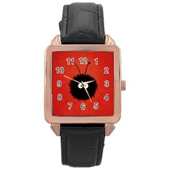 Red Cute Dazzled Bug Rose Gold Leather Watch