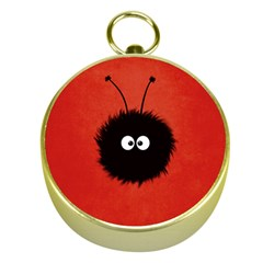 Red Cute Dazzled Bug Gold Compass