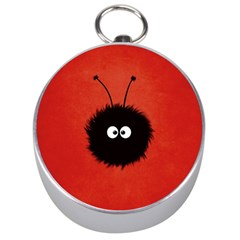 Red Cute Dazzled Bug Silver Compass