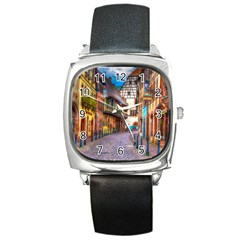 Alsace France Square Leather Watch