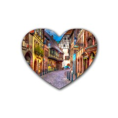 Alsace France Drink Coasters 4 Pack (Heart)