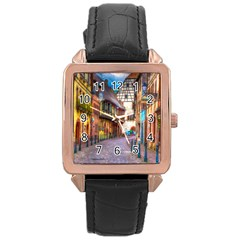 Alsace France Rose Gold Leather Watch