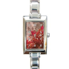 Decorative Flowers Collage Rectangular Italian Charm Watch