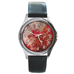 Decorative Flowers Collage Round Leather Watch (Silver Rim)