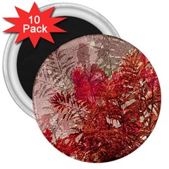 Decorative Flowers Collage 3  Button Magnet (10 Pack)