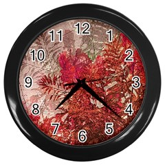 Decorative Flowers Collage Wall Clock (Black)