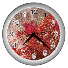 Decorative Flowers Collage Wall Clock (Silver)