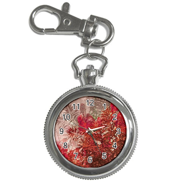 Decorative Flowers Collage Key Chain Watch