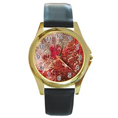 Decorative Flowers Collage Round Leather Watch (gold Rim)