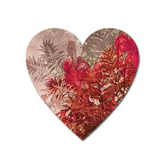 Decorative Flowers Collage Magnet (heart)