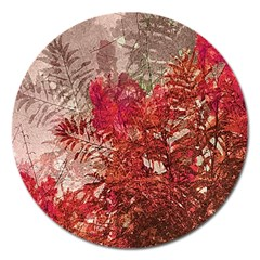 Decorative Flowers Collage Magnet 5  (Round)