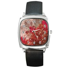 Decorative Flowers Collage Square Leather Watch