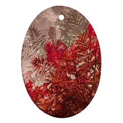 Decorative Flowers Collage Oval Ornament (Two Sides)