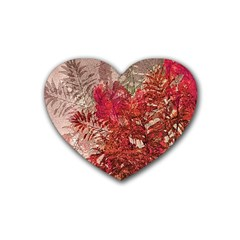 Decorative Flowers Collage Drink Coasters (Heart)
