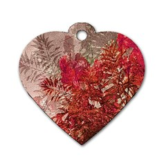 Decorative Flowers Collage Dog Tag Heart (Two Sided)