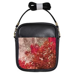 Decorative Flowers Collage Girl s Sling Bag