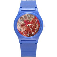 Decorative Flowers Collage Plastic Sport Watch (small)