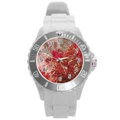 Decorative Flowers Collage Plastic Sport Watch (large)