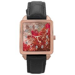Decorative Flowers Collage Rose Gold Leather Watch