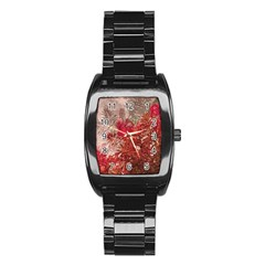 Decorative Flowers Collage Stainless Steel Barrel Watch