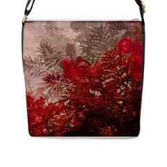 Decorative Flowers Collage Flap Closure Messenger Bag (large)