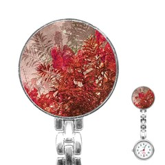Decorative Flowers Collage Stainless Steel Nurses Watch