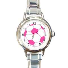 Soccer Ball Pink Round Italian Charm Watch