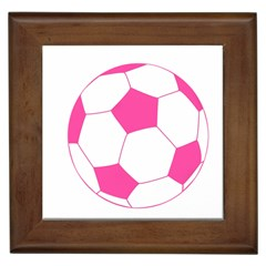 Soccer Ball Pink Framed Ceramic Tile