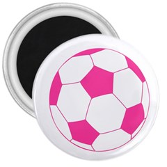 Soccer Ball Pink 3  Button Magnet