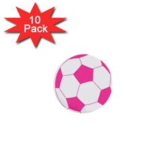 Soccer Ball Pink 1  Mini Button (10 pack)