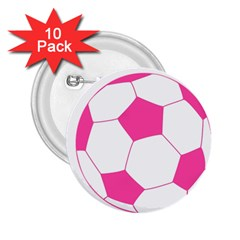Soccer Ball Pink 2.25  Button (10 pack)