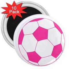 Soccer Ball Pink 3  Button Magnet (10 Pack)