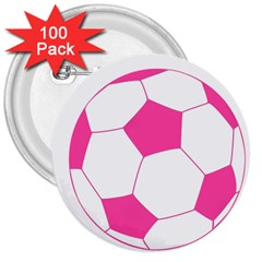Soccer Ball Pink 3  Button (100 pack)