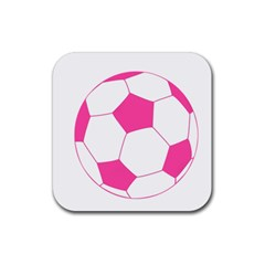 Soccer Ball Pink Drink Coasters 4 Pack (square)