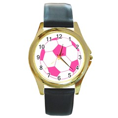 Soccer Ball Pink Round Leather Watch (Gold Rim)