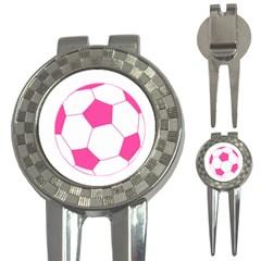 Soccer Ball Pink Golf Pitchfork & Ball Marker