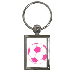 Soccer Ball Pink Key Chain (rectangle)