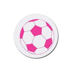 Soccer Ball Pink Drink Coaster (round)