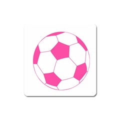 Soccer Ball Pink Magnet (Square)