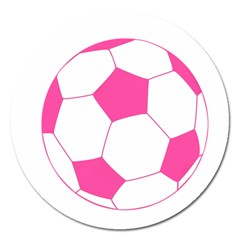 Soccer Ball Pink Magnet 5  (round)