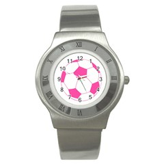 Soccer Ball Pink Stainless Steel Watch (slim)