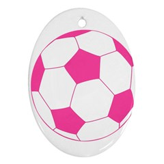 Soccer Ball Pink Oval Ornament (two Sides)